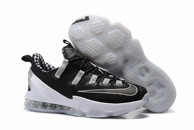 Nike Lebron James 13 Shoes Low Black White